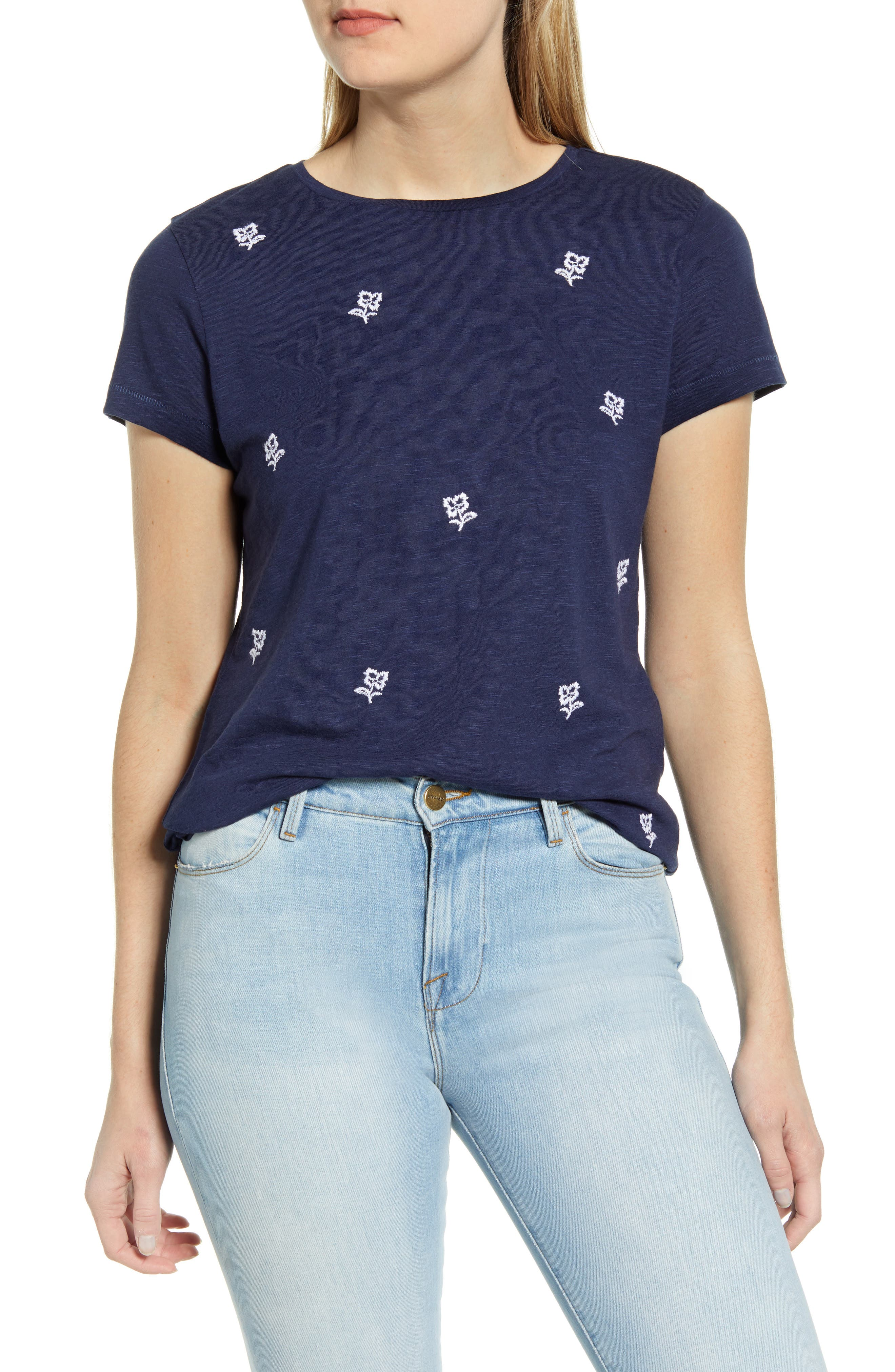Sweet little flowers dot the front of this comfy T-shirt made from a slubbed cotton blend. Style Name: Caslon Floral Embroidered T-Shirt. Style Number: 5999917. Available in stores.
