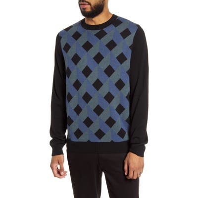 Calibrate Geo Print Crewneck Sweater, Blue