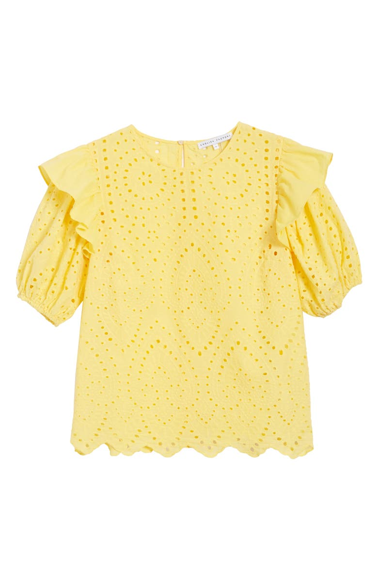 ENGLISH FACTORY Ruffle Puff Sleeve Cotton Eyelet Top, Main, color, 700