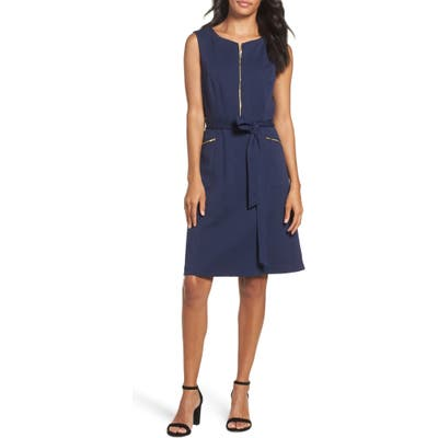 Ellen Tracy A-Line Ponte Dress, Blue