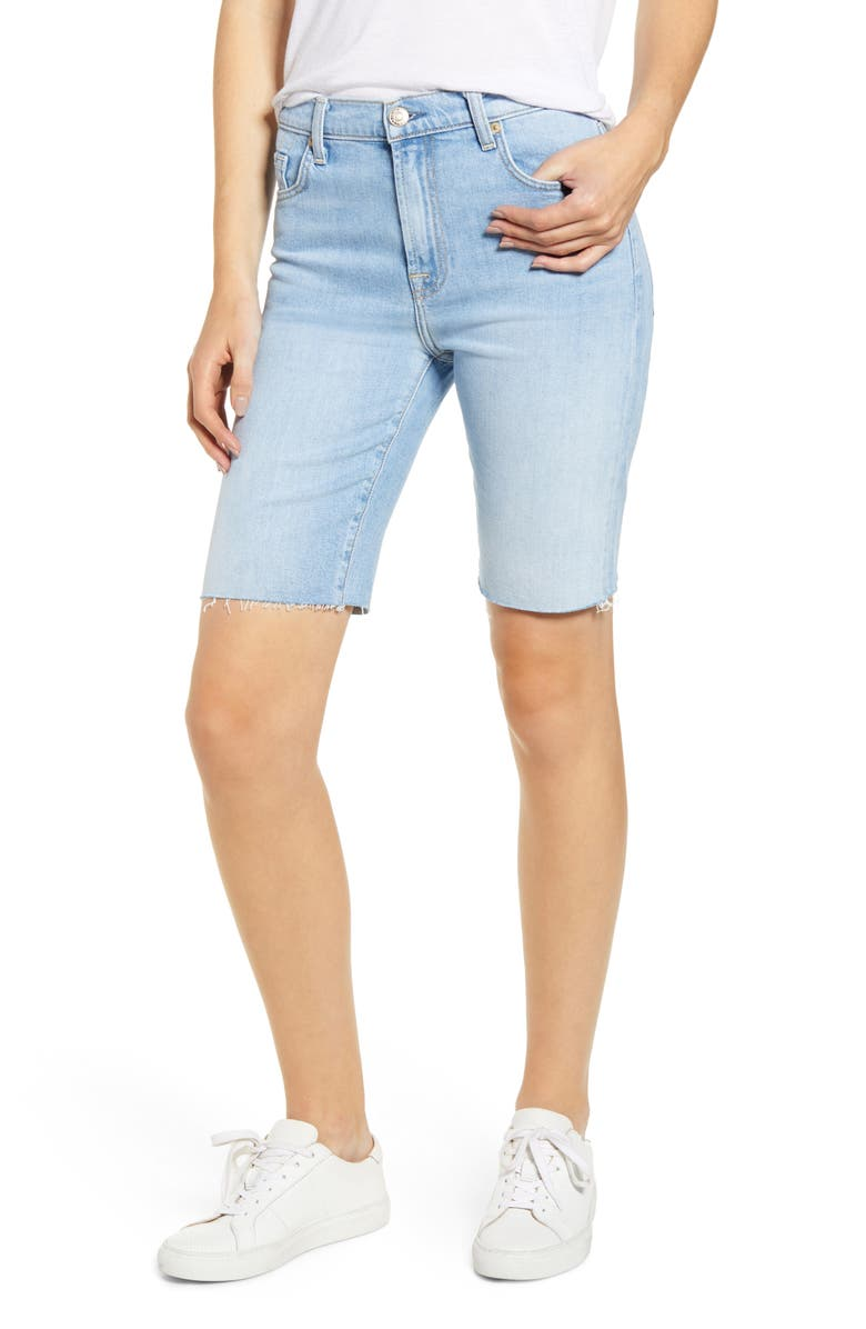 7 FOR ALL MANKIND<SUP>®</SUP> High Waist Denim Bermuda Shorts, Main, color, ROXY LIGHTS