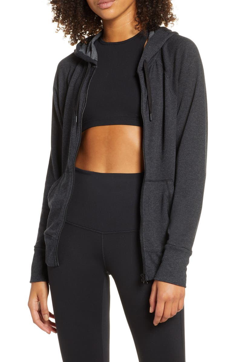 ZELLA Go To Zip Hoodie, Main, color, BLACK