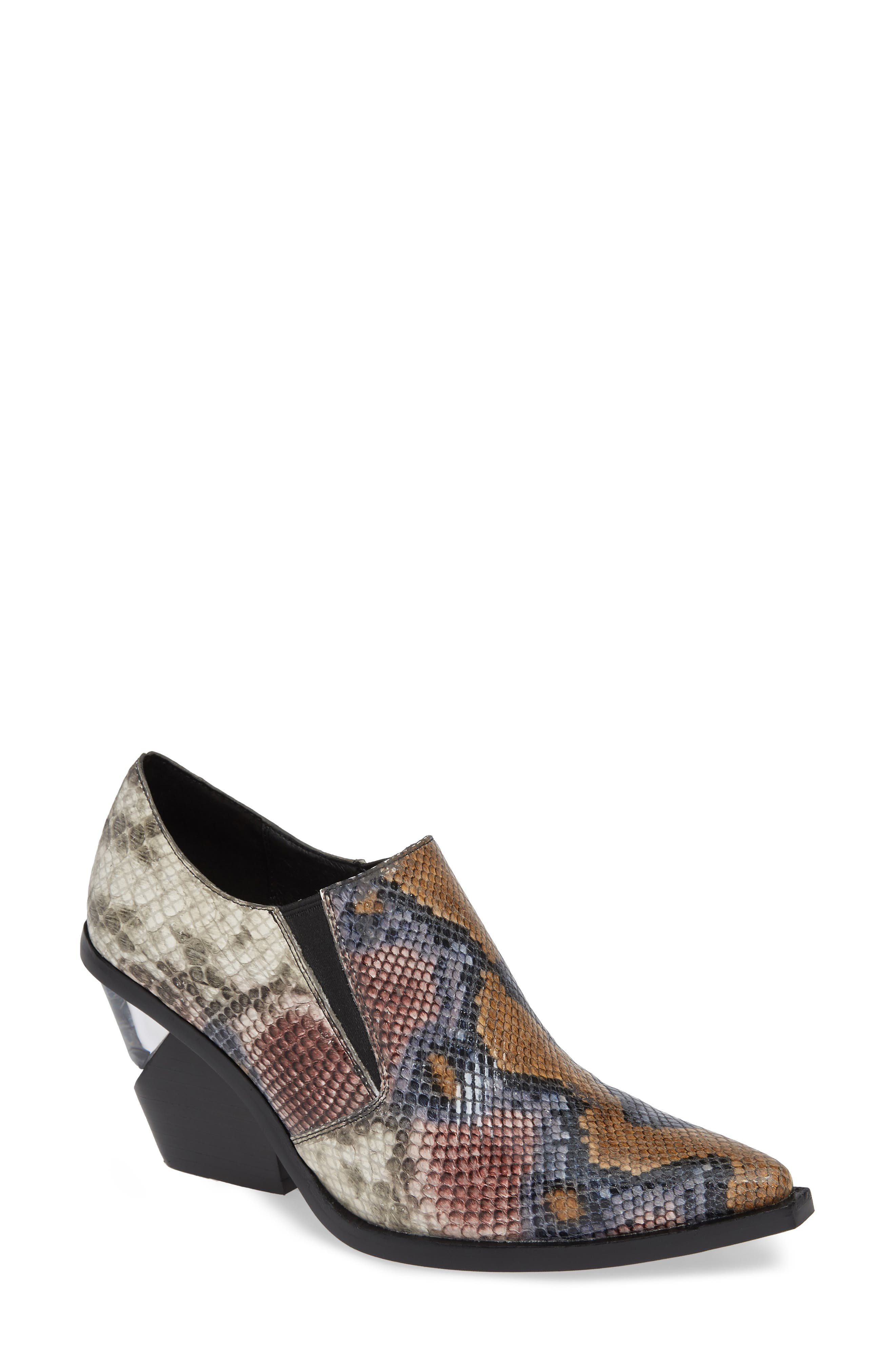 ,                             Flux Notched Heel Bootie,                             Main thumbnail 1, color,                             GREY WINE SNAKE BLACK