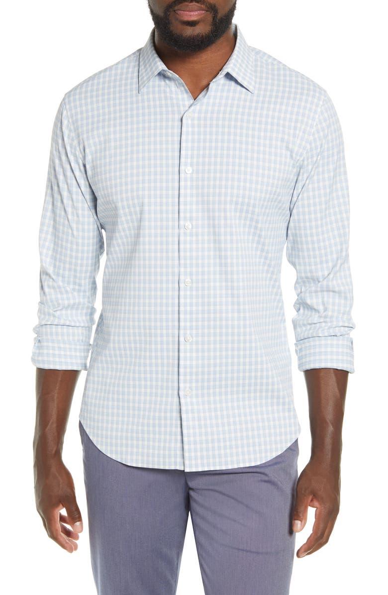 BONOBOS Slim Fit Plaid Button-Up Performance Shirt, Main, color, PLAID - BLUE EYES