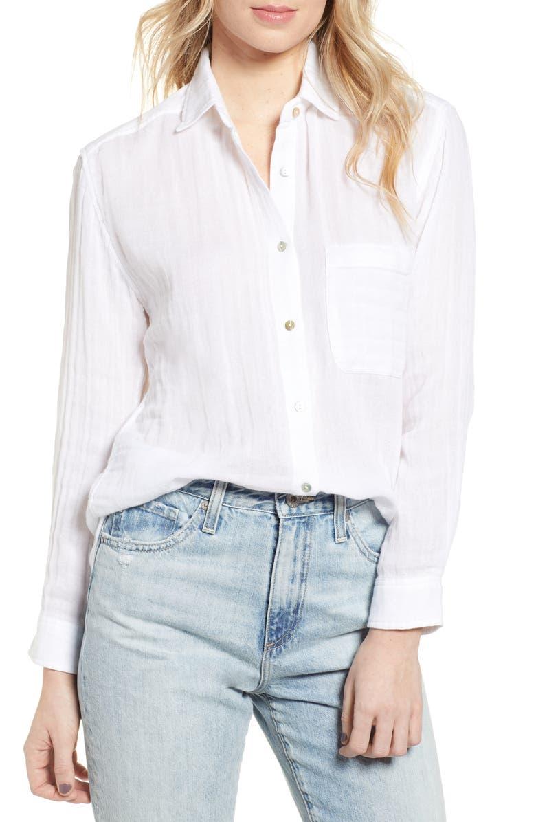 RAILS Ellis Cotton Shirt, Main, color, WHITE