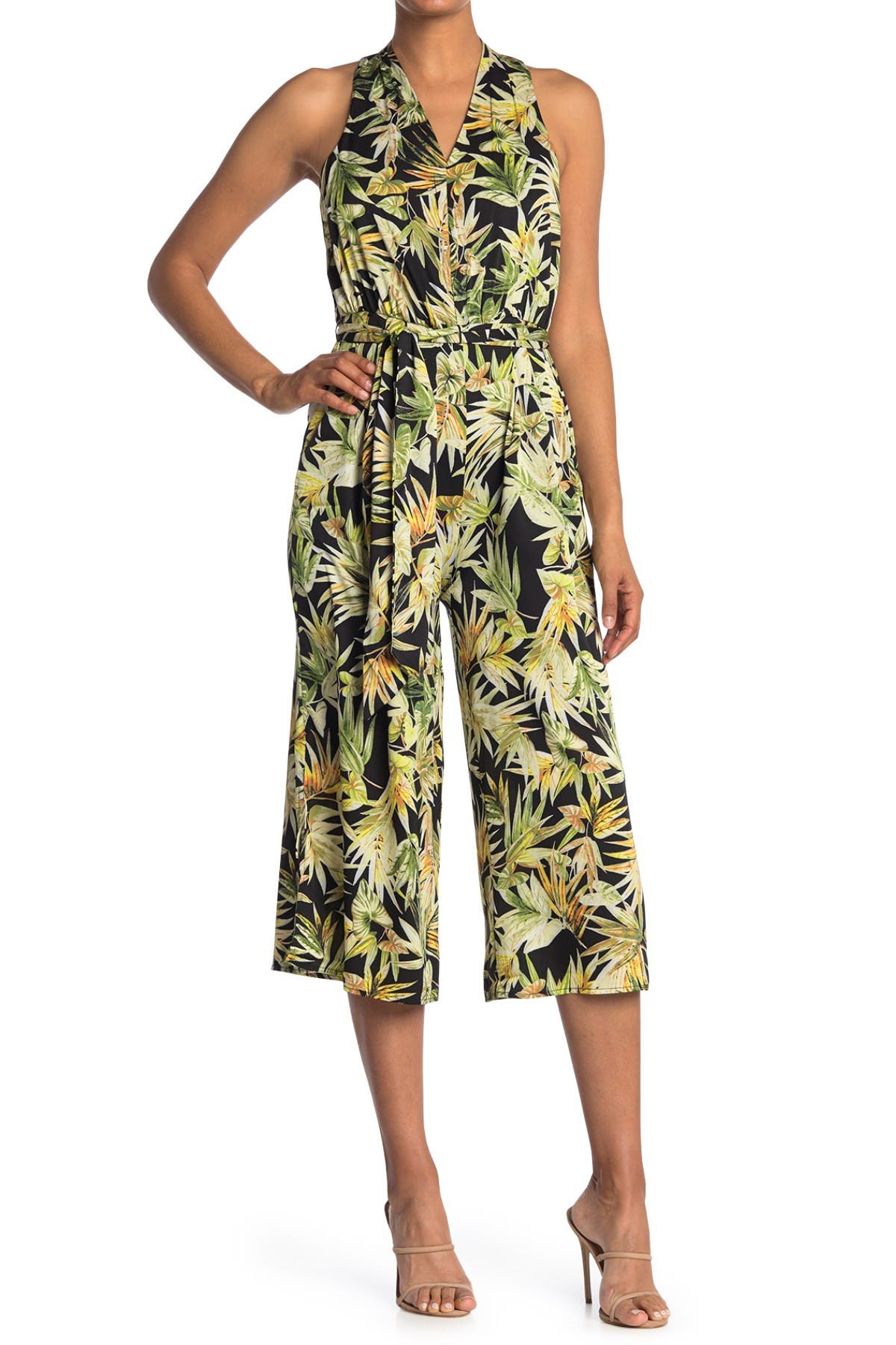 Image of London Times Tropical Print V-Neck Sleeveless Jumpsuit