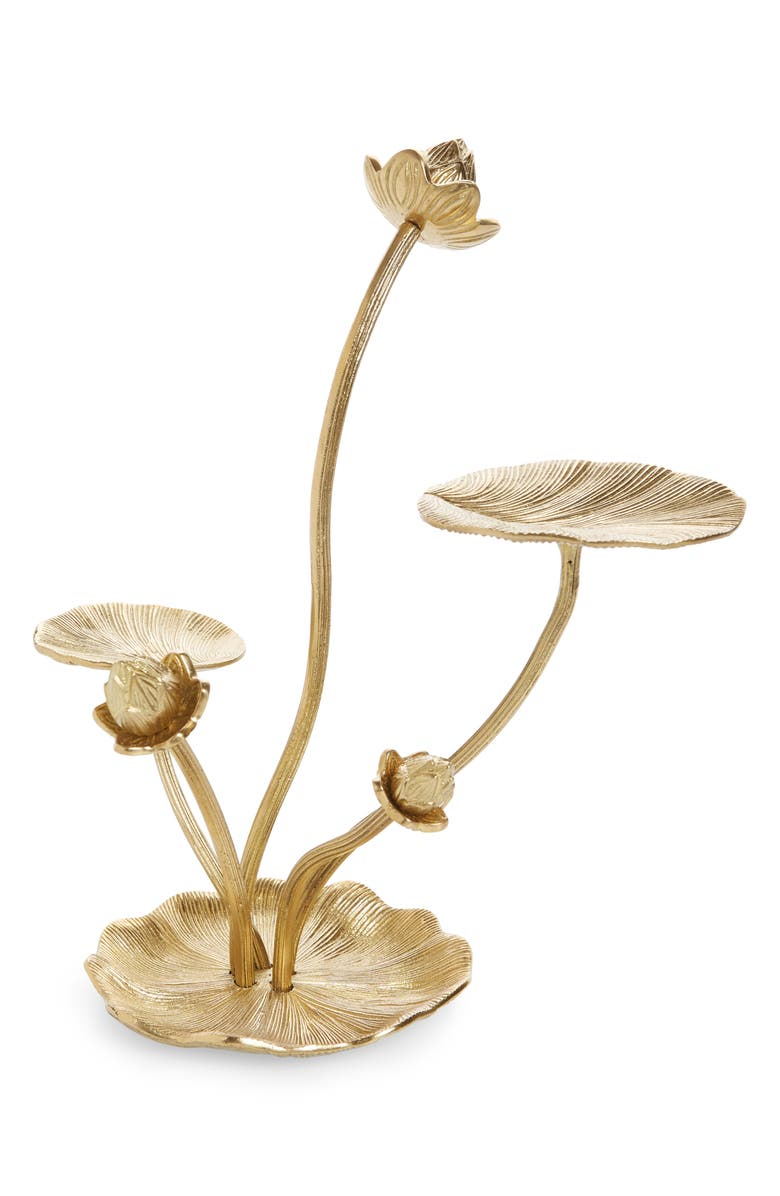 ANTHROPOLOGIE HOME Water Lily Jewelry Stand, Main, color, GOLD
