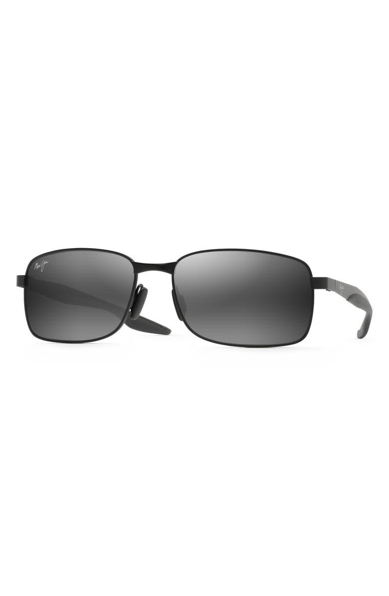 MAUI JIM Shoal 57mm Polarized Sunglasses, Main, color, BLACK