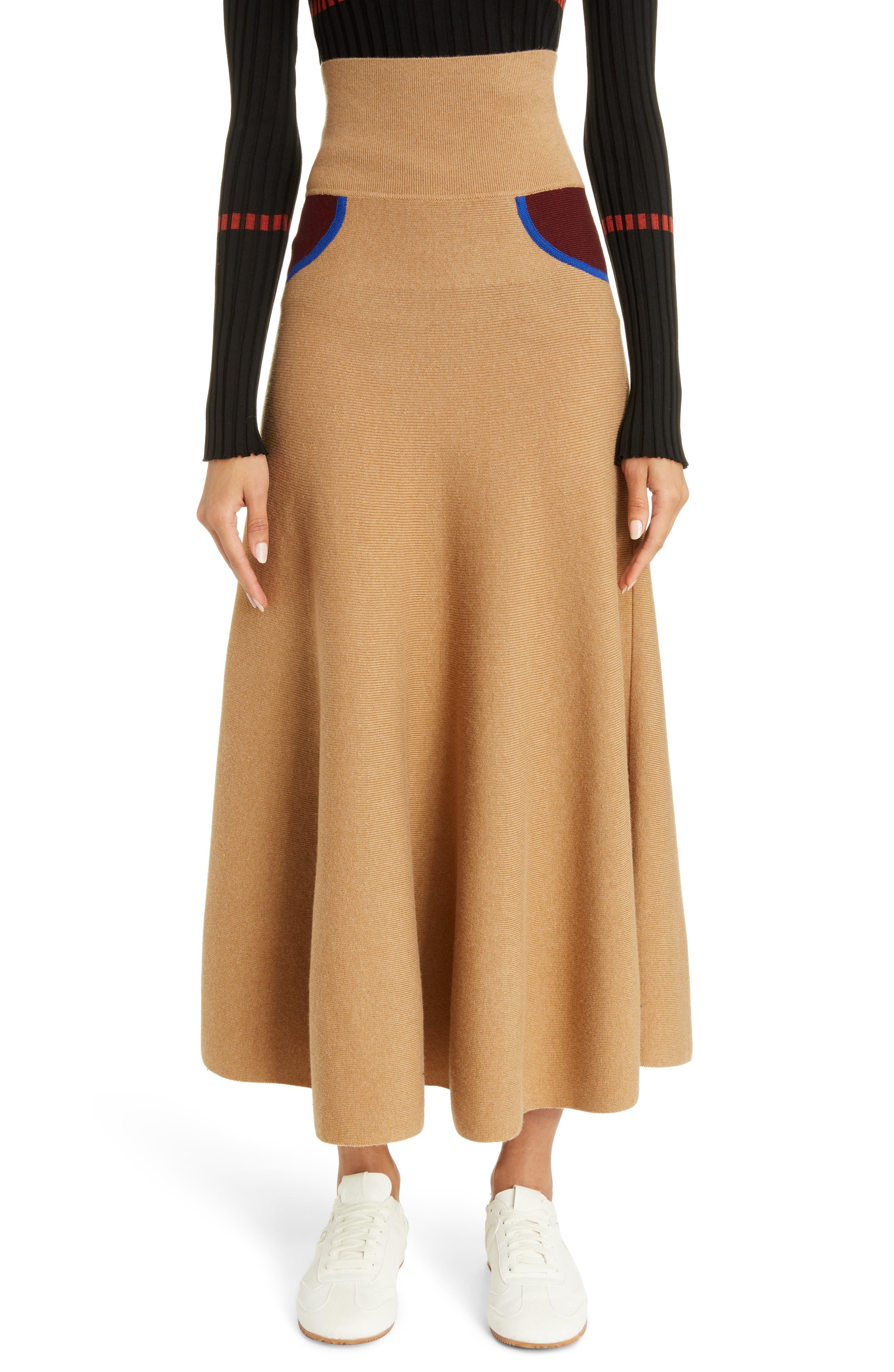 Loewe Sweaters Trompe l'Oeil Cashmere Midi Sweater Skirt