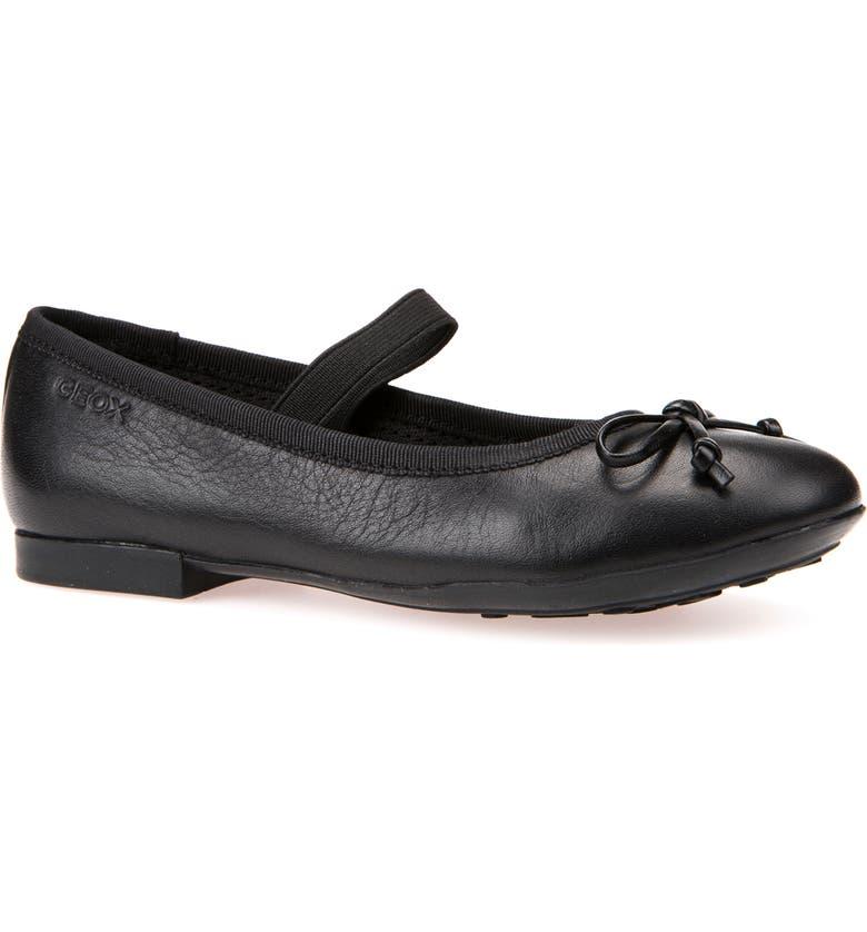 GEOX Plie Leather Ballet Flat, Main, color, BLACK