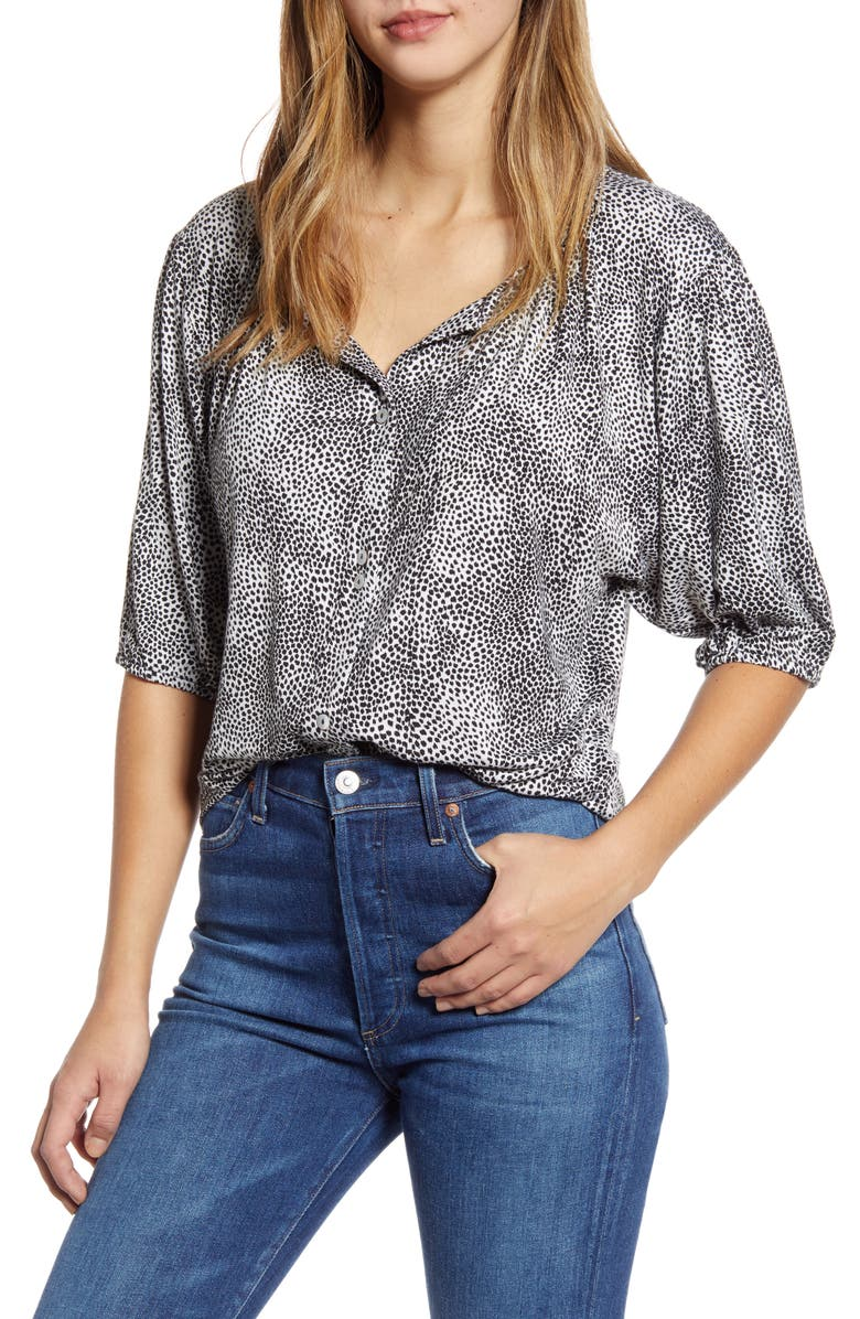 LOVEAPPELLA Button Front Blouse, Main, color, IVORY BLACK ANIMAL SPOT