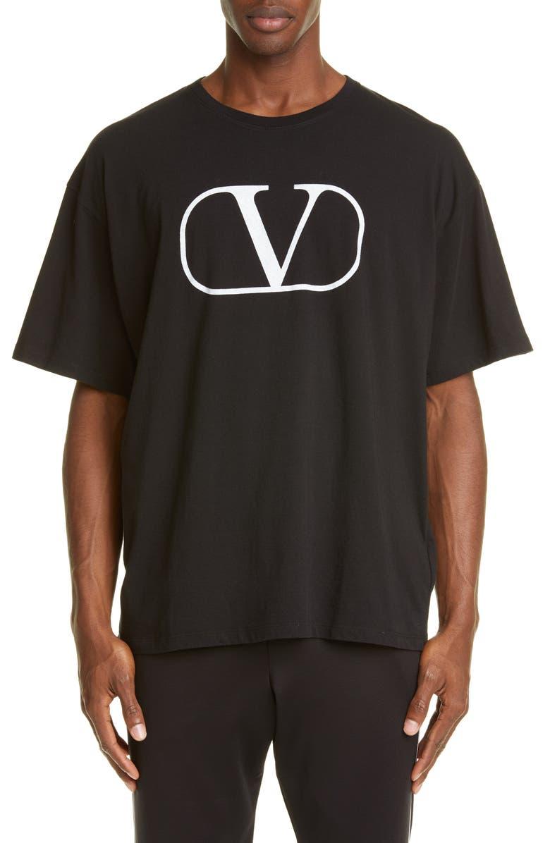 VALENTINO V Logo T-Shirt, Main, color, BLACK WHITE