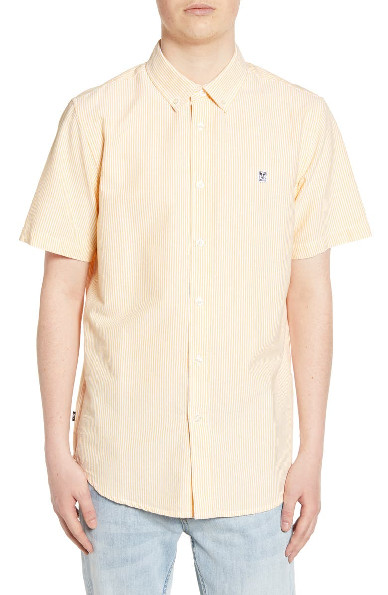 OBEY 89 Icon II Slim Fit Stripe Oxford Shirt, Main, color, 751
