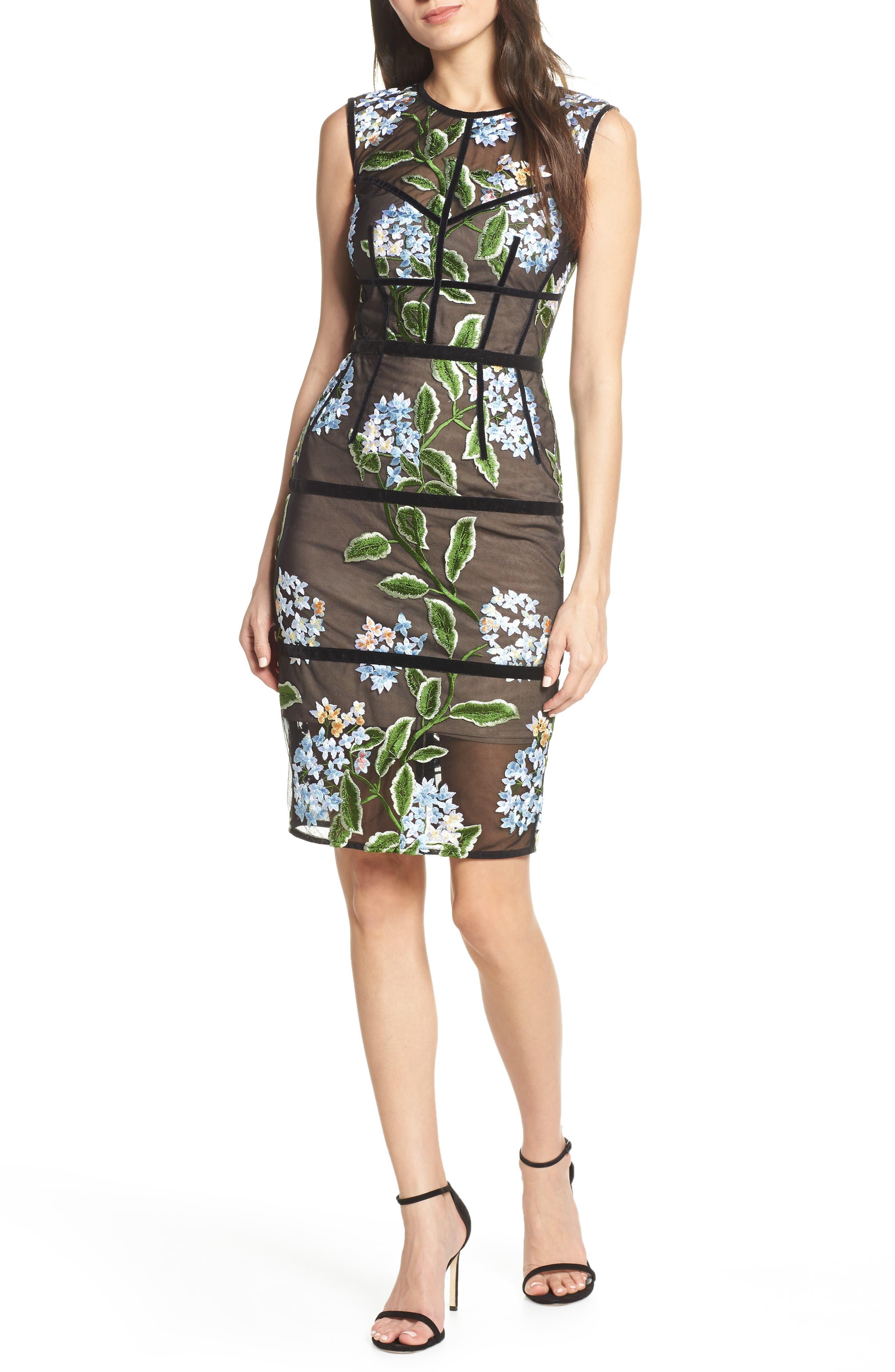 Bronx And Banco Bridget Velvet & Embroidery Cocktail Dress, Black