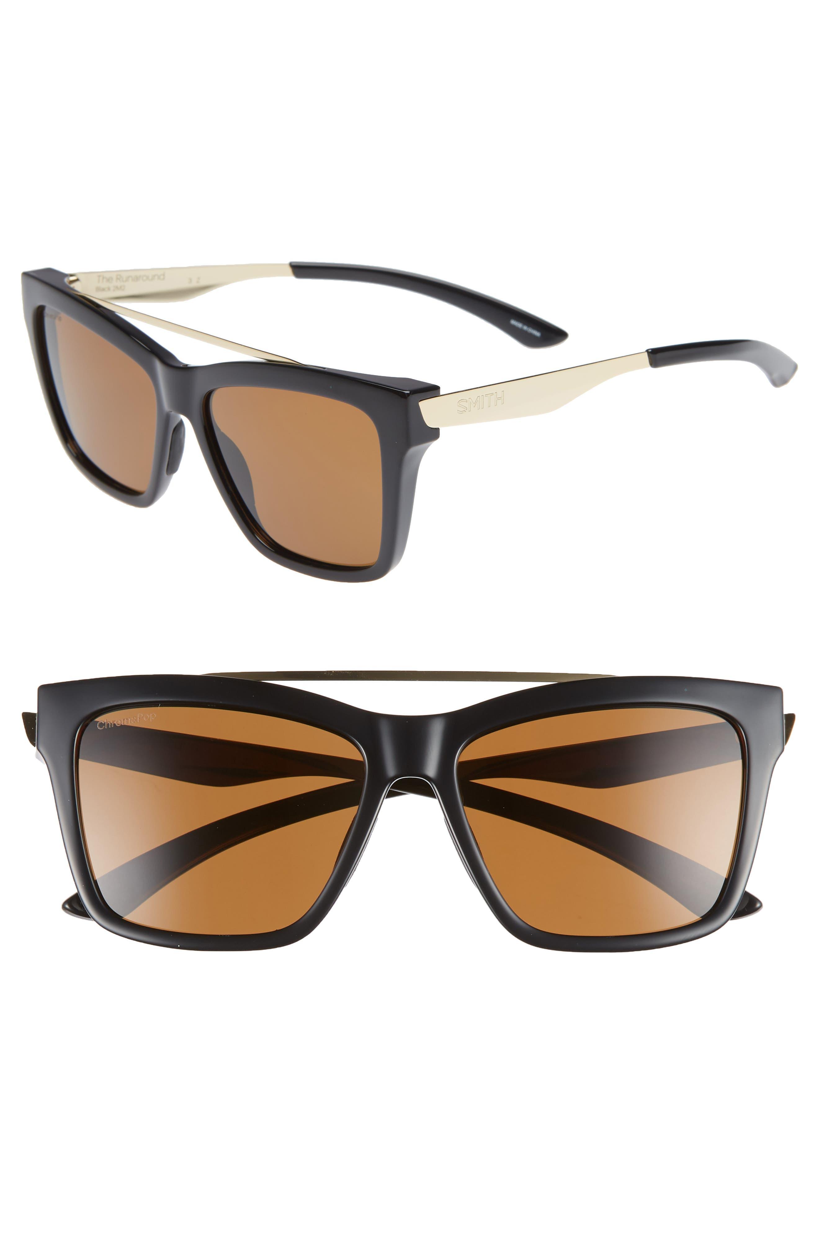 ,                             The Runaround 55mm ChromaPop<sup>™</sup> Polarized Sunglasses,                             Main thumbnail 1, color,                             BLACK