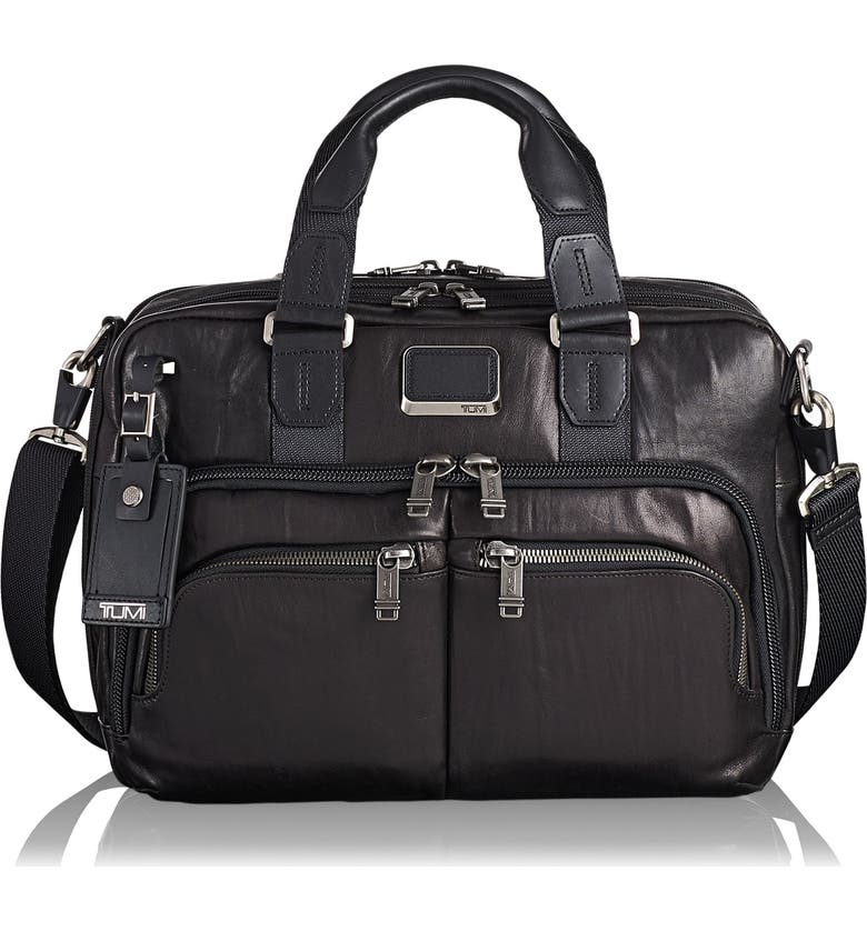 TUMI Alpha Bravo Albany Leather Slim Commuter Briefcase, Main, color, 001