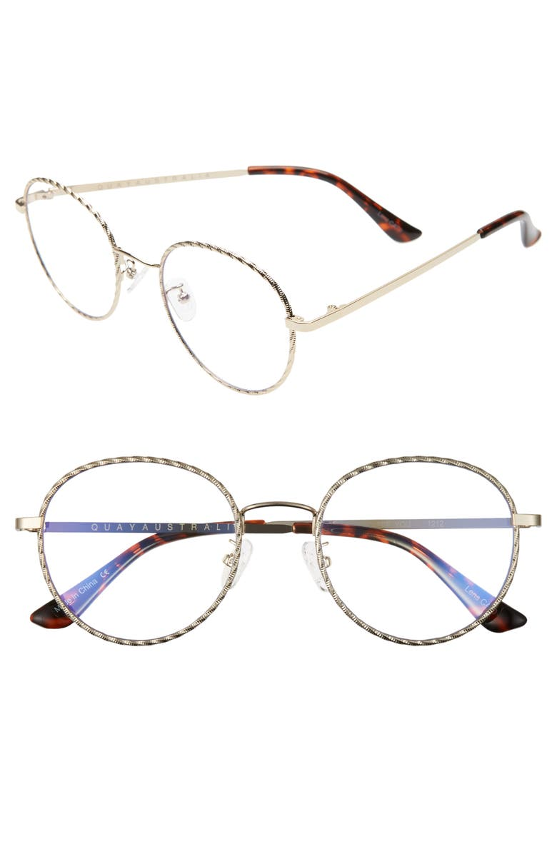QUAY AUSTRALIA I See 51mm Blue Light Blocking Glasses, Main, color, GOLD ROPE/CLEAR BLUE