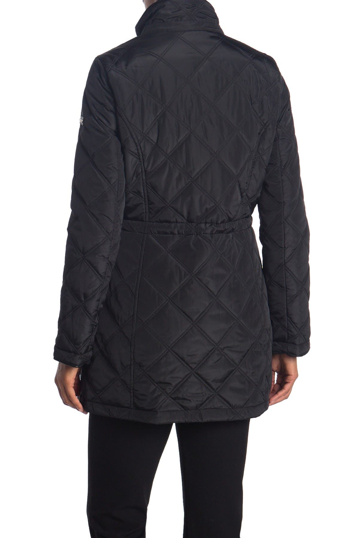 DKNY Cinch Waist Quilt Jacket with Hood
