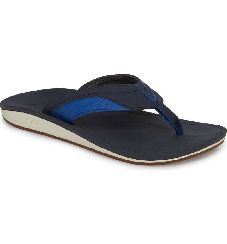 OLUKAI Nohona Flip Flop, Main, color, TRENCH BLUE/ TRENCH BLUE