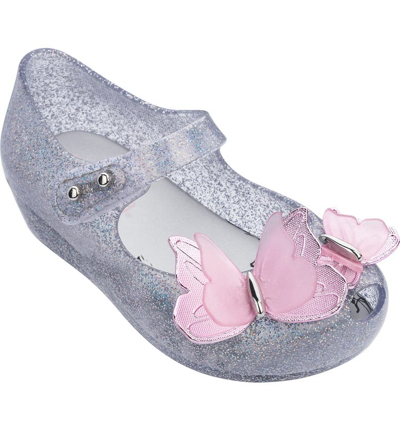 MINI MELISSA Ultragirl Butterfly Mary Jane Flat, Main, color, SILVER GLITTER