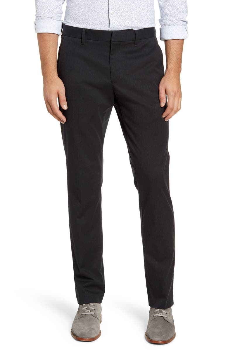BONOBOS Stretch Weekday Warrior Slim Fit Dress Pants, Main, color, CHARCOAL HERRINGBONE YARN DYE