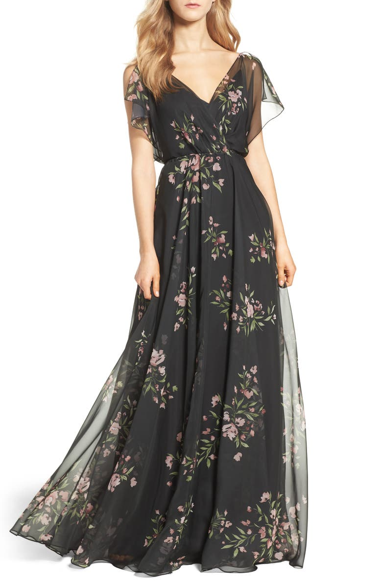 JENNY YOO Cassie Flutter Sleeve Surplice Gown, Main, color, 001