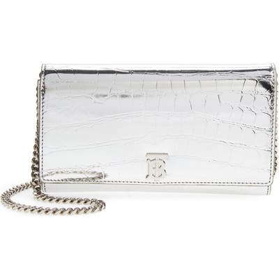 Burberry Hannah Croc Embossed Faux Leather Clutch - Metallic