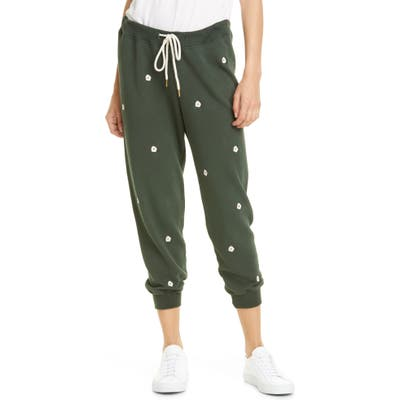The Great. The Cropped Sweatpants With Floral Embroidery, Green