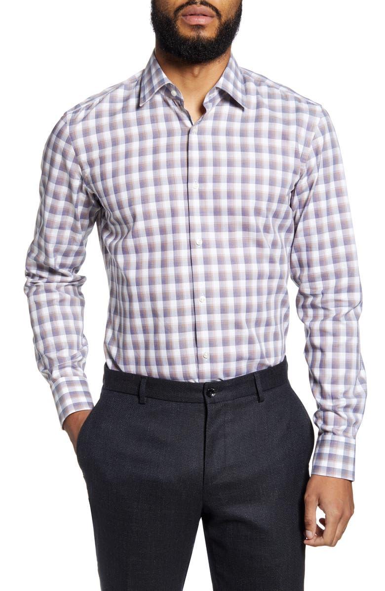 BOSS Jango Slim Fit Plaid Dress Shirt, Main, color, BROWN