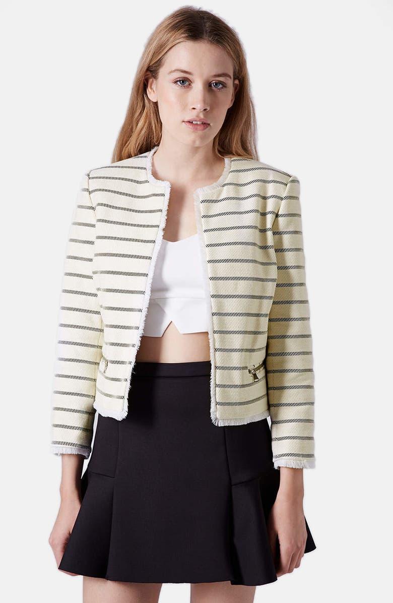 TOPSHOP 'Freya' Stripe Crop Jacket, Main, color, 101