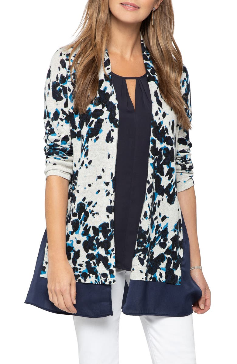NIC+ZOE Positive Outlook Chiffon Trim Cardigan, Main, color, MULTI
