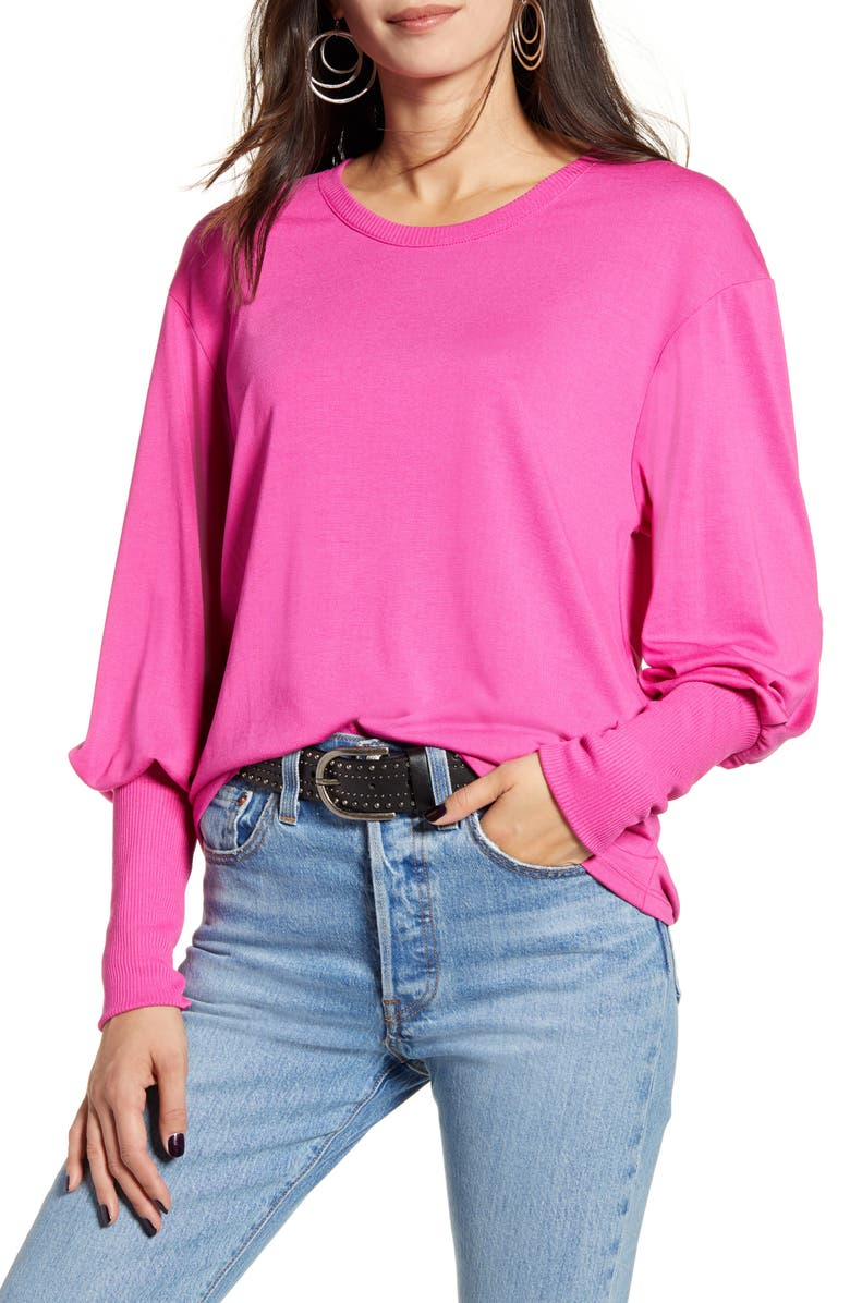 TREASURE & BOND Blouson Sleeve Tee, Main, color, PINK CYCLAMEN