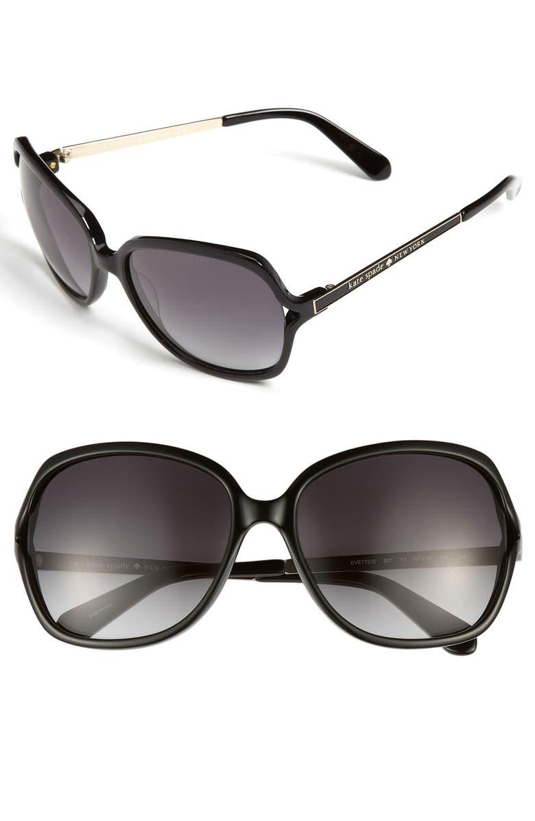 KATE SPADE NEW YORK 'evette' 57mm oversized sunglasses, Main, color, 001
