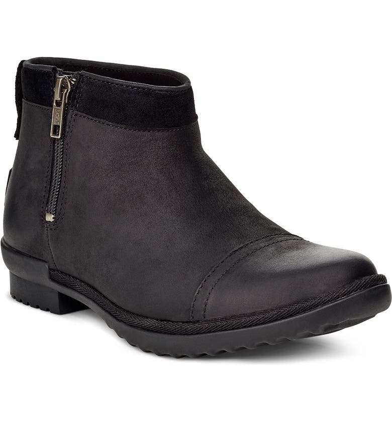 UGG<SUP>®</SUP> Attell Waterproof Bootie, Main, color, BLACK LEATHER