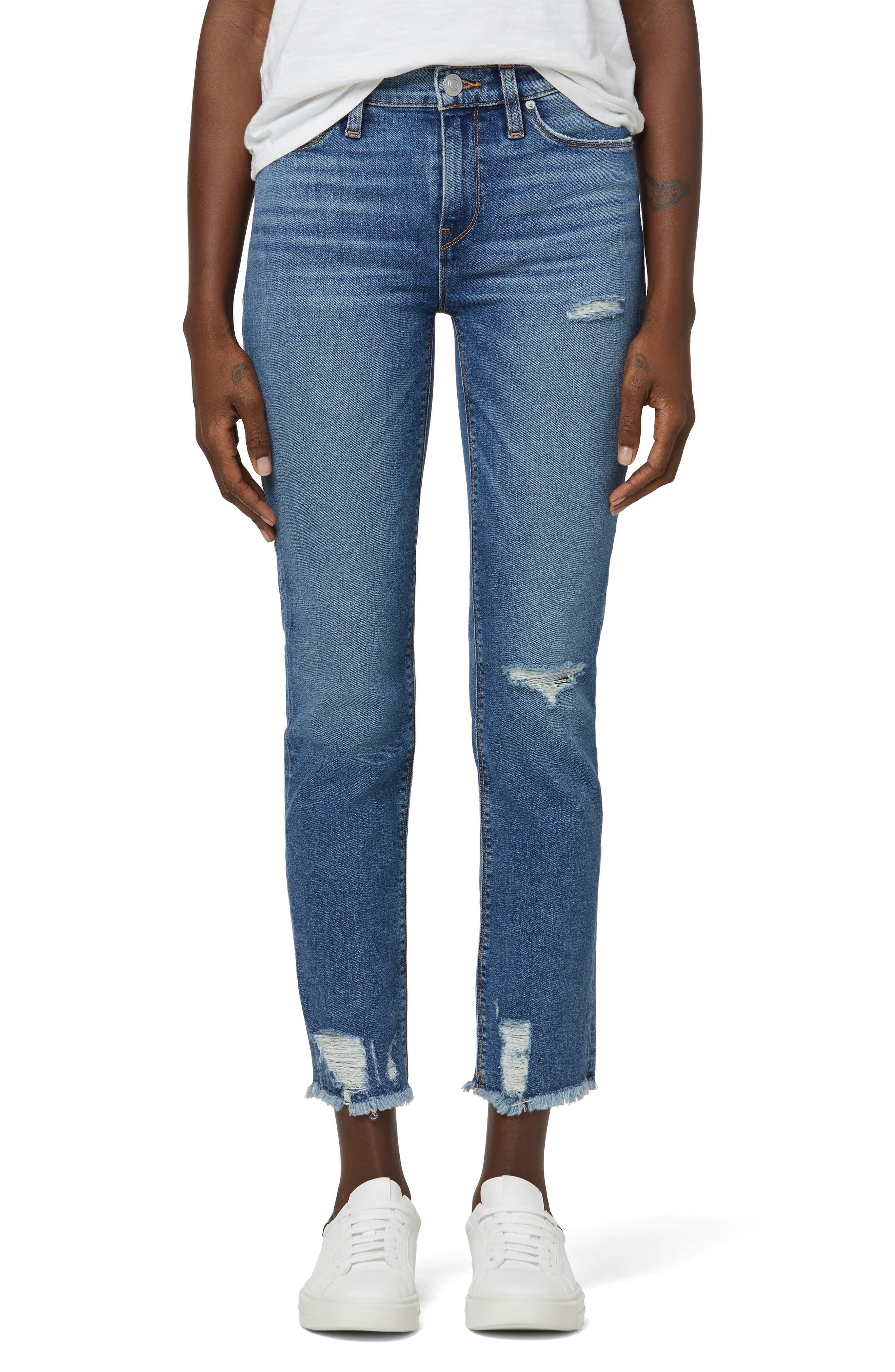 Nico Distressed Crop Straight Leg Jeans