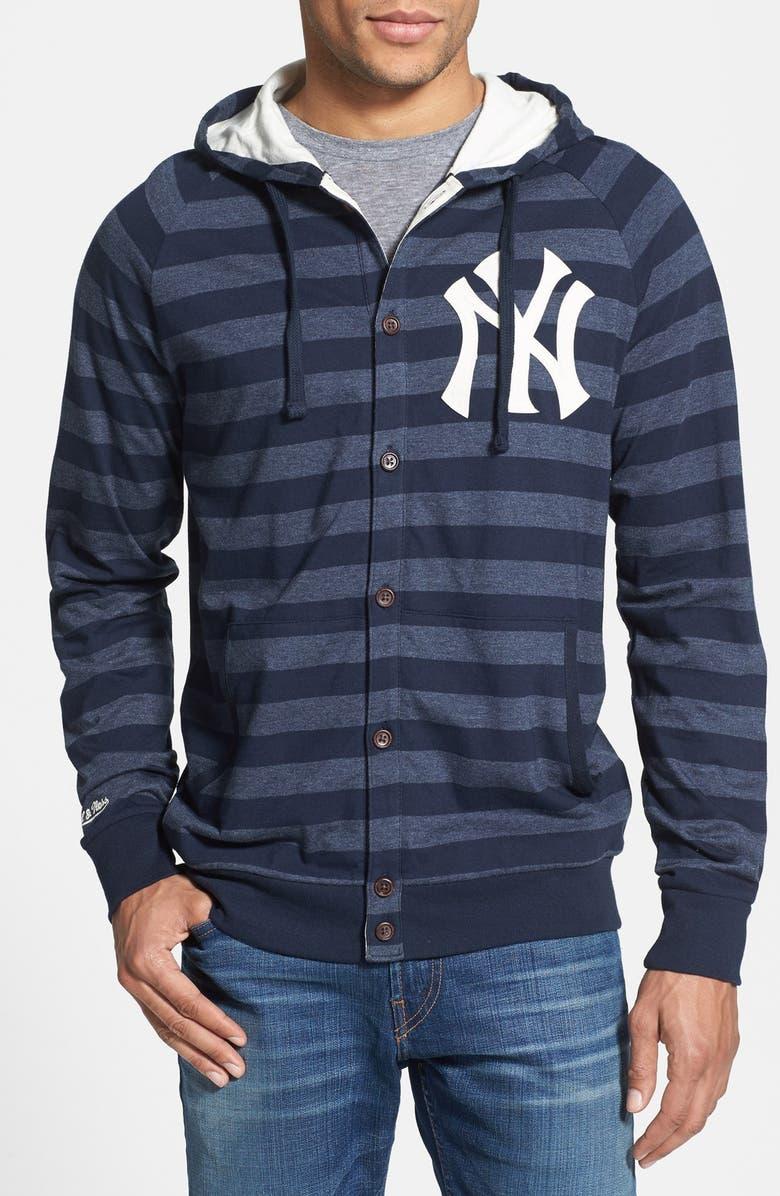 best website 6eb1b 41cbf Mitchell & Ness 'Yankees' Stripe Button Front Jersey Hoodie ...