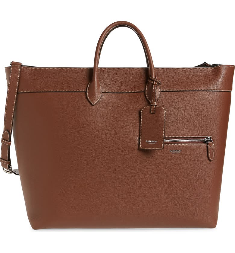 BURBERRY Sanford Leather Tote, Main, color, TAN