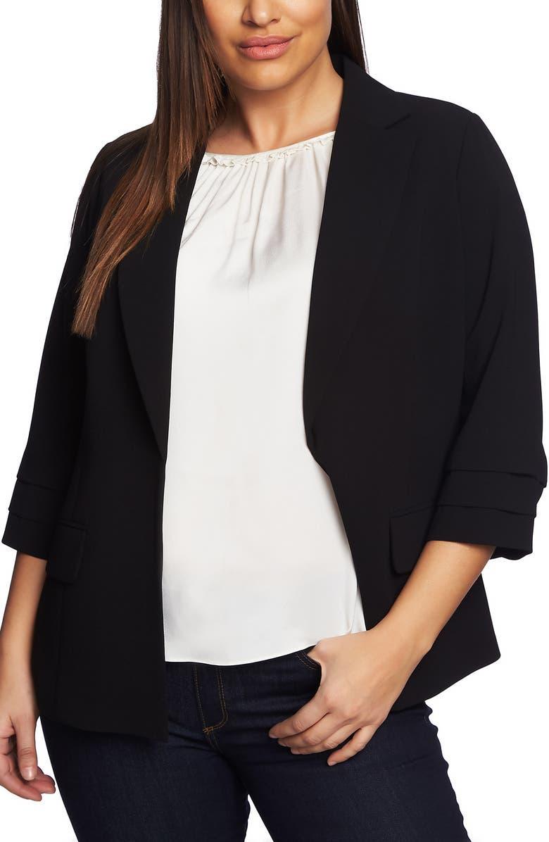 CECE Moss Crepe Tailored Blazer, Main, color, RICH BLACK