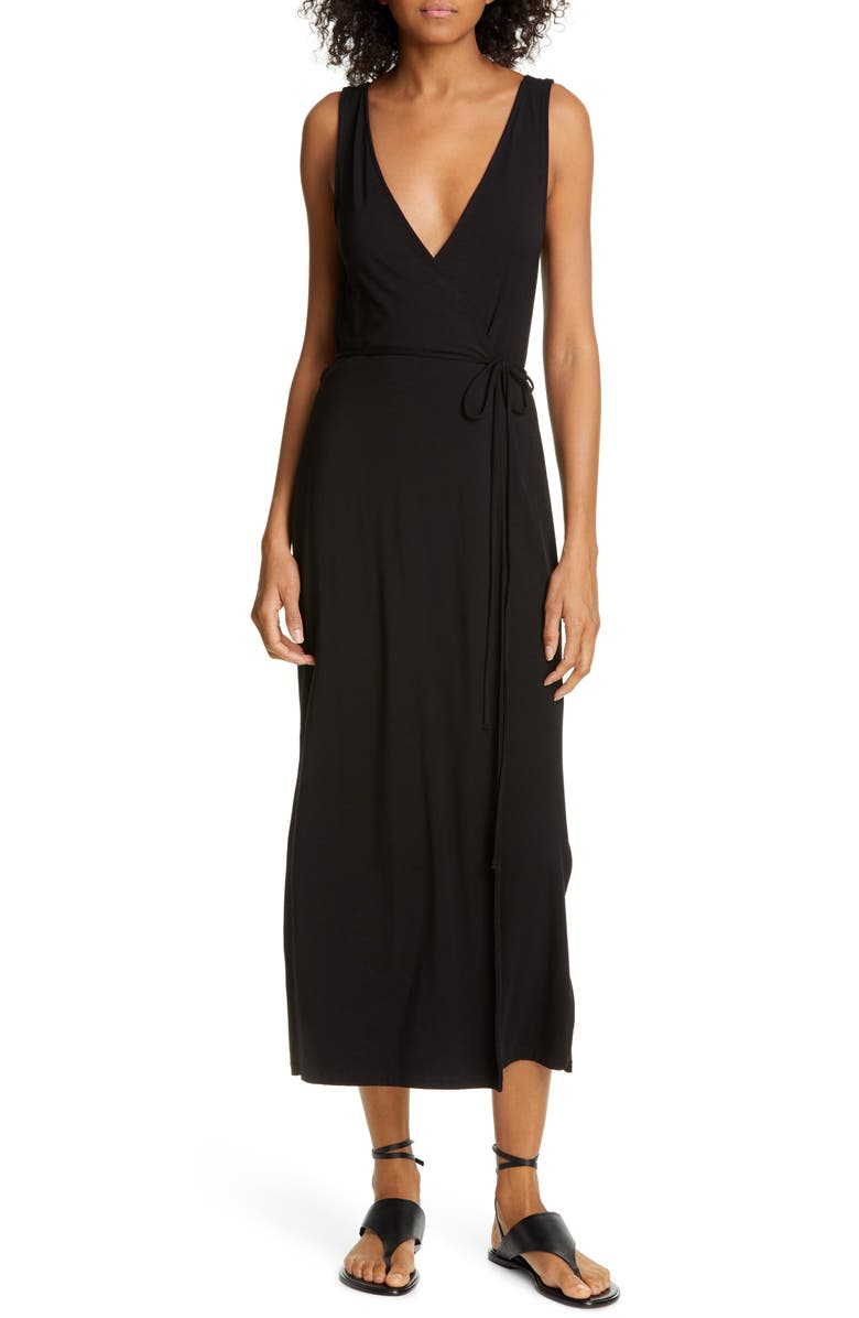 VINCE Sleeveless Wrap Midi Dress, Main, color, 001