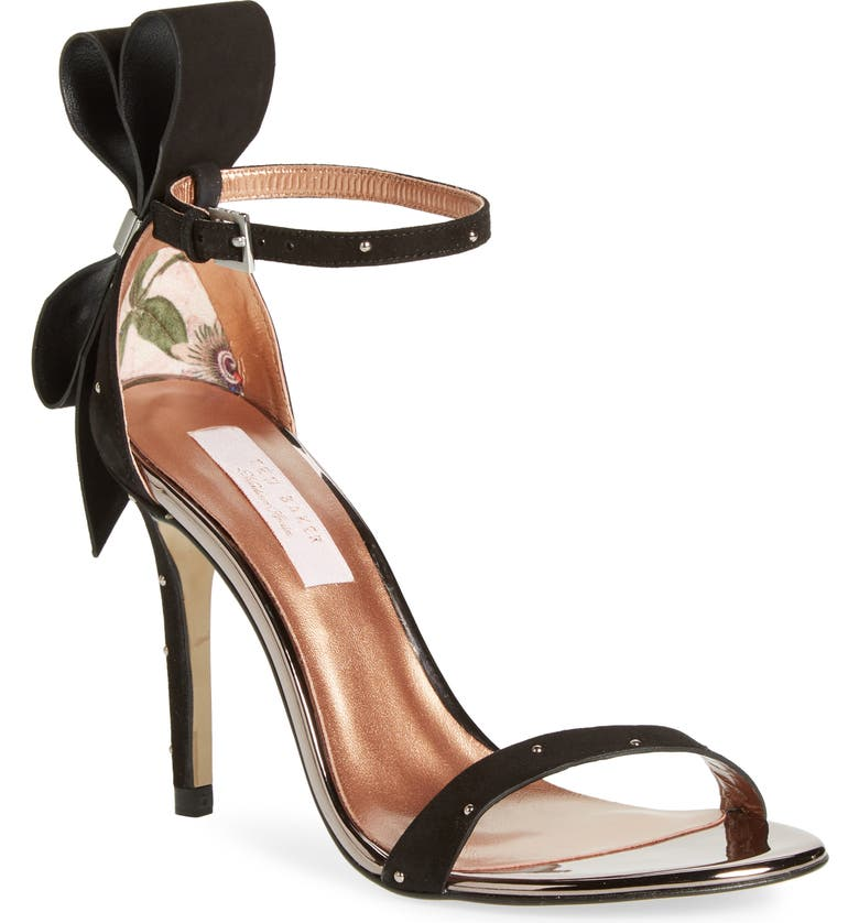 TED BAKER LONDON Zandala Ankle Strap Sandal, Main, color, BLACK SUEDE