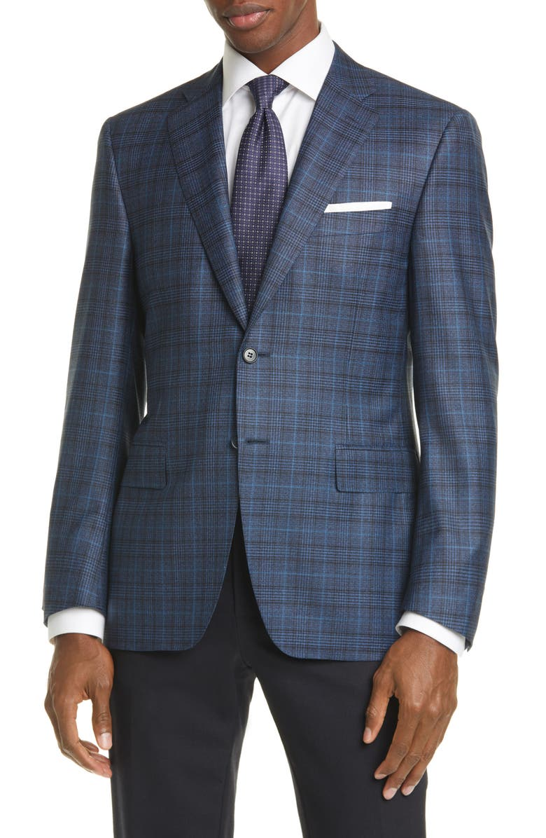 CANALI Siena Soft Classic Fit Plaid Wool Sport Coat, Main, color, 400
