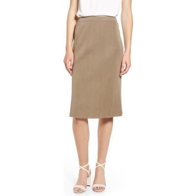 Ming Wang Straight Skirt, Brown