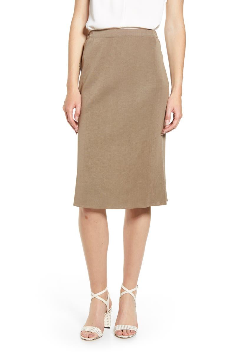 MING WANG Straight Skirt, Main, color, CAPPUCCINO