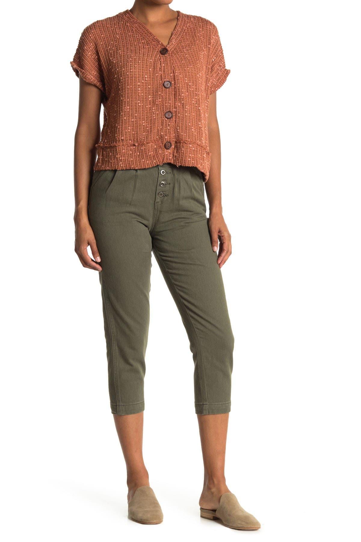 Image of Blu Pepper High Waist Button Crop Pants