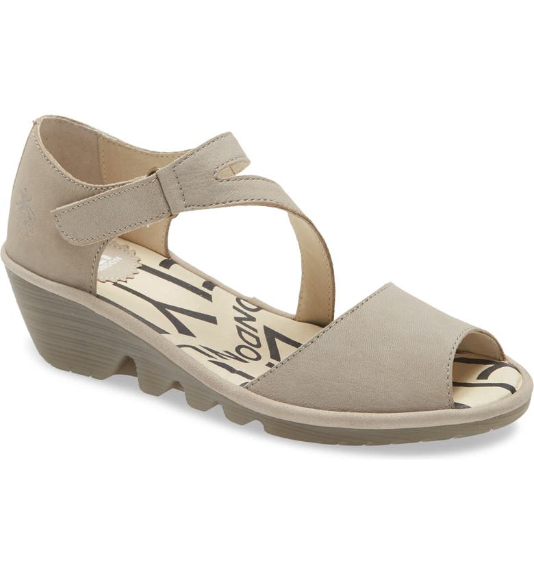 FLY LONDON Pona Wedge Sandal, Main, color, CLOUD CUPIDO LEATHER