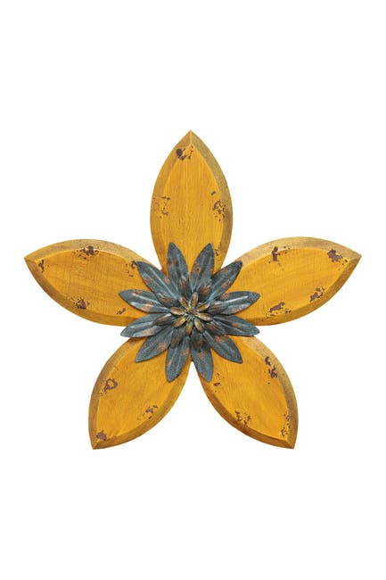 Image of Stratton Home Yellow/Teal Antique Flower Wall Decor
