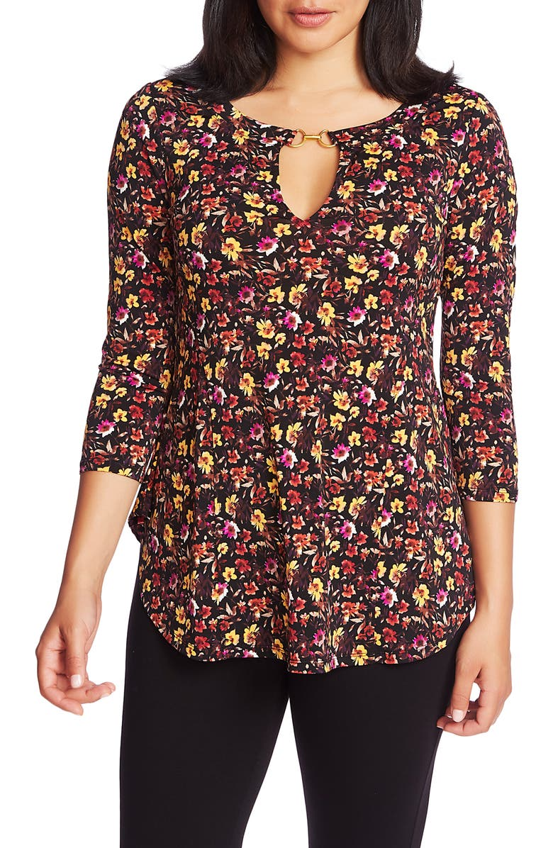 CHAUS Mountain Blossom Keyhole Neck Top, Main, color, RICH BLACK