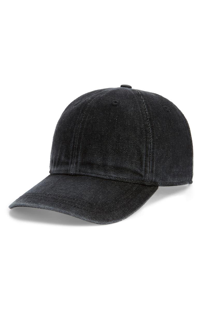 MADEWELL Faded Denim Baseball Cap, Main, color, WASHED BLACK