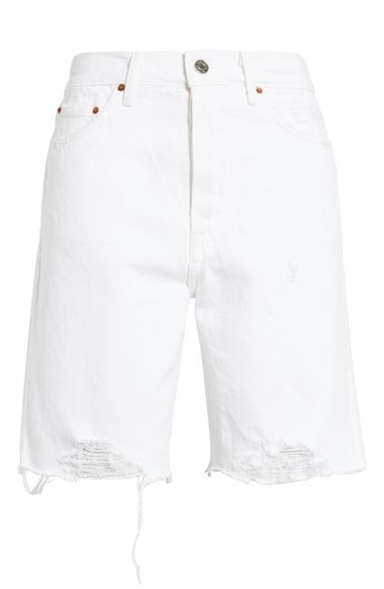 Image of GRLFRND Marjan Distressed High Waist Denim Bermuda Shorts