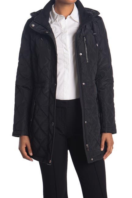 Image of DKNY Cinch Waist Quilt Jacket with Hood